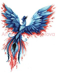 Blue and red phoenix