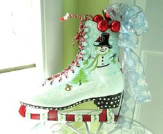 Reserve for Lora Lee Painted Ice Skates Snowman by WhimsyBurd