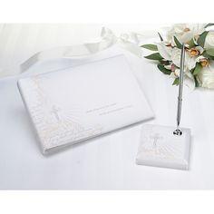 Faith, hope, love wedding guestbook and pen.