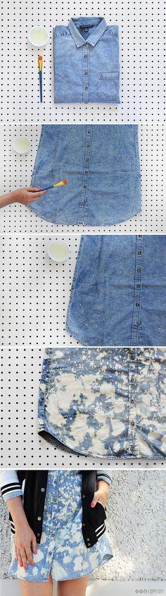 MY DIY | Bleach Dyed Chambray Dress | I SPY DIY