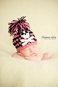 Pink Pirate Hat Baby Newborn Crochet by BabiesBugsAndBees on Etsy, $15.99