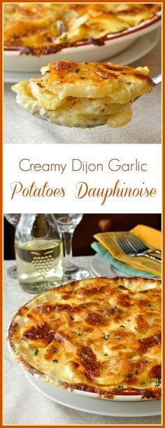 Creamy Dijon Garlic Potatoes Dauphinoise - Creamy Dijon Garlic Potatoes Dauphinoise – These beautiful garlic potatoes dauphinoise get additional flavour boosts from Dijon mustard and Gouda cheese! A perfect side dish with Easter ham or lamb. Potato Dishes, Food Dishes, Ham Side Dishes, Side Dishes For Lamb, French Side Dishes, Lamb Dishes, Potato Recipes, Patate Dauphinoise, Vegetable Dishes