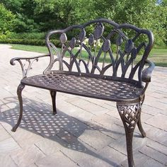 Tulip Cast Aluminum Loveseat Bench Verdi Grey By Oakland Living, Http://www