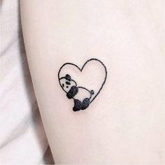 panda heart tattoo