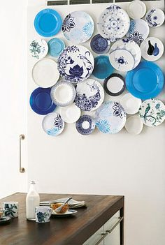 I may hang some blue plates on my kitchen wall. I want to mix some vintage Blue Willow plates with some whimsical, modern blue plates that I hope to find at Homegoods. It will have a cool sculptural effect and shouldn't cost much to create! Hanging Plates, Wall Decor, Plate Collage, Plates On Wall, Plate Display, Pretty Plates, Plate Hangers, Plate Decor, Blue Plates