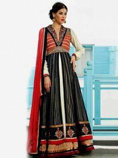 Black Banarasi Anarkali Suit With Resham And Stone Work www.saree.com