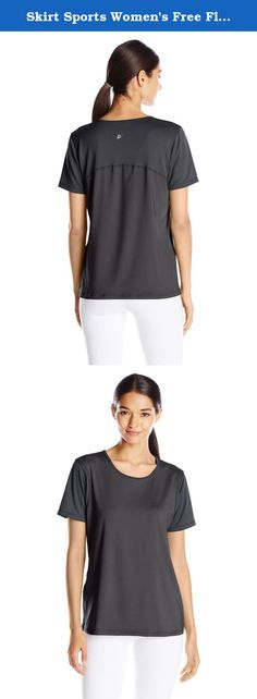 """Skirt Sports Women's Free Flow Tee, Black, X-Small. Skirt Sports - Free Flow Tee - Stop searching for that perfect workout shirt for women, and tell those Crop Top Cops to put away their tickets. Meet the hottest piece of activewear for women that has also earned the title of the """"anti-belly tee."""" The Free Flow Tee is a lightweight, mesh-paneled Skirt Sports favorite with a longer, relaxed cut that won't strangle your middle or rise up for the world to see. Easy fit, subtle scoop neck and..."""