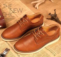 New 2014 men black/brown/green genuine leather business dress shoes,designer oxfords men casual flats sports shoes 39-44 $45.46