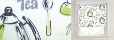 Funky Lime Green, Black, Grey, Beige & White Tea Patterned Kitchen Roller Blinds from English Blinds. Add fabulous colour and styling to your kitchen. White Backdrop, Roller Blinds, Contemporary Style, Grey And White, Tea Time, Color Pop, Backdrops, English, Beige