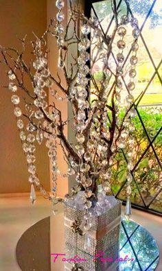 Sale Bling Manzanita Tree Centerpiece Silver Glitter Bling Centerpiece,Bling Wishing Tree, With hanging crystals and Bling rhinestone vase. on Etsy, $39.00