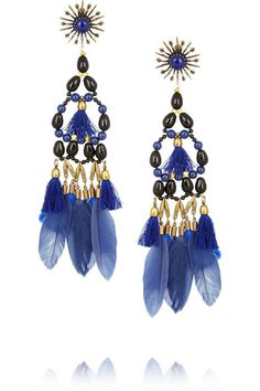 Isabel Marant Kayapo gold-tone, Swarovski bead and feather clip earrings