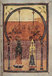 Pre-Romanesque - The two witnesses - Ende Medieval Manuscript, Medieval Art, Illuminated Manuscript, Apocalypse, Pre Romanesque, Two Witnesses, Historical Images, Art Database, Art Pages