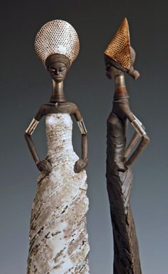 """Tony Foard Ceramics - """"My figures are hand built using a white clay with most of the final colour and decoration coming from smoke penetrating the surface in a controlled way. I also use small amounts of glaze and lustres."""""""
