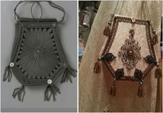Reticule, left the original museum piece, right the reproduction.  Silk,  metal, made by Angela Mombers