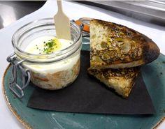 "House Smoked Salmon ""Rillettes"", Crème fraîche, wood grilled ciabatta"