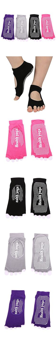 Yoga Socks Non-slip Five Fingers Socks With Grips Women's Cotton Floor Socks Skid Barre Sock 4 Pack By MIGOHI Half Toe