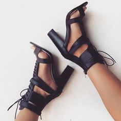 Lace UP Ankle Wraps Open Toe High Chunky Heels Sandals – MeetYoursFashion Crazy Shoes, Me Too Shoes, Mode Shoes, Sandals Outfit, Strappy Sandals, Black High Heels, Beautiful Shoes, Beautiful Live, Chunky Heels