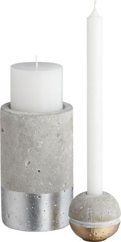 win-win candleholders | CB2 Love the concrete with metallic touches. Would be great in groups or a stand-alone statement!