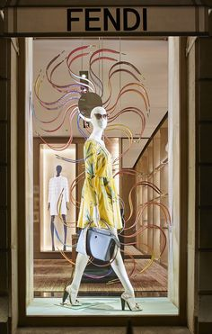 The Fendi Strap You accessory collection displayed in the new boutique window theme in Avenue Montaigne, Paris.