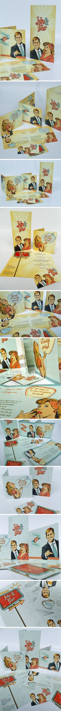 #Trouwkaarten in #fifties stijl. Bruid vooraan, bruidegom 180° gedraaid achteraan. Exclusief verkrijgbaar bij http://www.kaartencolectie.be