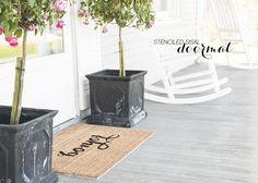 'Bonjour' Stenciled Doormat DIY - Earnest Home co.