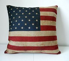 Pillow Cases Standard Size, CaseShell® Cotton Linen Square Decorative Throw Pillow Case Cushion Cover US Flag 18x18 Inch *** Instant discounts available  : FREE Home Decor