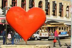 Cable Car And Big Heart In Union Square, San Francisco By Mitchell Funk,  www.mitchellfunk.com