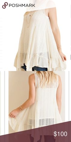 Fishnet Tunic A closet fav! Fishnet shark bite hem tunic featuring godet gauze ruffles! Very cute cream colored tunic!  Worn best with a tank underneath. Loose fitting. This item is available. Don't forget to check out my Deal of the Month listing ! Tops Tank Tops