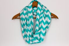 Tiffany Blue - SOFT Chevron Infinity Scarf -  Zig Zag - Loop Jersey Knit Scarf - Circle Scarf. $18.95, via Etsy.