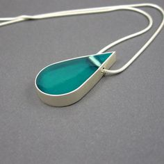 Silver resin necklace aqua drop pendant solid by MissSilver, €56.00