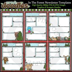 In The Forest 8 1/2 x 11 Newsletter Templates Color & Line Art - $4.50 : Scrappin Doodles, Creative Clip Art, Websets & More