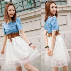 Free Shipping, Fashion 2013 summer Women's Vintage Jean Dresses Denim Dress Retro Girl Blue Top White With Belt $13.95