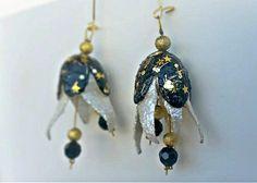 Silk cocoon earrings , lightweight earrings, Valentine's day gift for her, boho jewelry, flower earrings, EGST, Greek shops, Ready to ship Butterfly Earrings, Flower Earrings, Drop Earrings, Boho Jewelry, Beaded Jewelry, Jewelry Ideas, Jewellery, Valentines Day Gifts For Her, Wedding Earrings