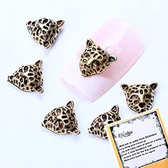 BTArtbox 20PCS New Trendy Cool Nail Art Golden 3D Alloy Leopard Head Nail Art DIY Decorations