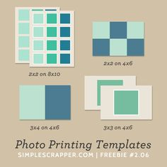 DOWNLOADED. Especially love the 2x2s templates! Photo Printing Templates | Simple Scrapper Freebie #2.06