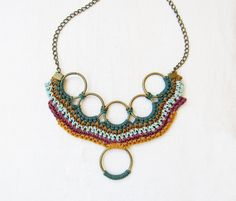 Crochet statement necklace / fiber jewelry / by laviniasboutique