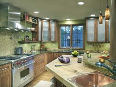 A true Chef's kitchen, by Dave Fox    the green is option with the cabinet floor combo