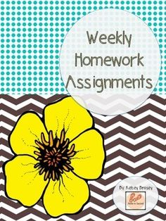 If you are in need of a homework routine, this set will help you get organized!  I have created a homework weekly schedule to help you plan out homework each week.  There are some materials included in this packet that you could use during your weekly homework assignments.  I hope this can be useful to you or spark an idea!  This packet could be used in grades K-5 with modifications.  Enjoy! Be sure to follow my TPT store for my latest creations. :]