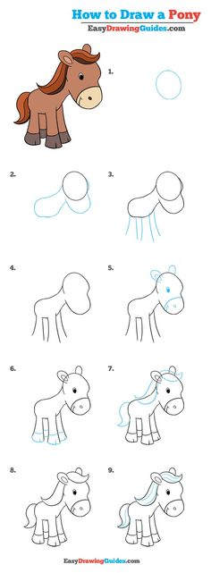Learn How to Draw a Pony: Easy Step-by-Step Drawing Tutorial for Kids and Beginners. #Pony #drawingtutorial #easydrawing See the full tutorial at https://easydrawingguides.com/draw-pony-really-easy-drawing-tutorial/.