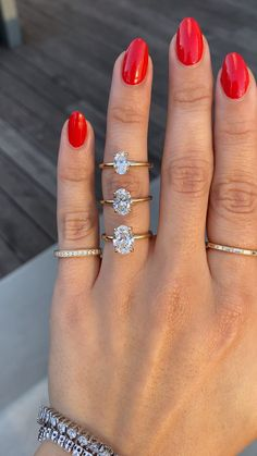Florina is like a floating diamond ring. It's thin, simple and a stone highlighter. All your attention will be on the diamond with this 1.3mm width setting. Here she is shown with three different sized diamonds: 1 carat, 1.50 carat, and 2 carat. #2carat #twocarat #1carat #onecarat #solitaireengagementring #customengagementring #simpleengagementring #ovaldiamond #ovaldiamondring #ovalengagementring #labgrowndiamonds #ethicaldiamonds #recycledmetal #engagementringideas #engagementringinspiration Oval Diamond, Diamond Sizes, Diamond Gemstone, Gemstone Rings, Best Engagement Rings, Gemstone Engagement Rings, Oval Engagement, Lab Created Diamond Rings, Lab Created Diamonds