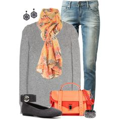 Grey with Coral Fall, created by kswirsding on Polyvore