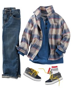 Denim and plaid make a classic combo for your little guy. Complete his look with colorblock sneakers and a henley for layering. Little Boy Outfits, Little Boy Fashion, Cute Outfits For Kids, Baby Boy Fashion, Toddler Outfits, Baby Boy Outfits, Kids Fashion, Baby Boy Monogram, Little Boy Haircuts