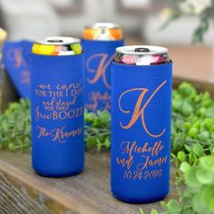 Gift these useful favors to your friends and family to use during your wedding and then take home to remember your wedding day every time they enjoy a cold beverage. Made of high quality, machine washable neoprene, these collapsible can sleeves fit comfortably in a back pocket and will last longer than sponge foam beer can coolers. Small Thank You Gift, Thank You Gifts, Wedding Favors, Wedding Reception, Wedding Day, Wedding Designs, Beer, Slim, Lettering