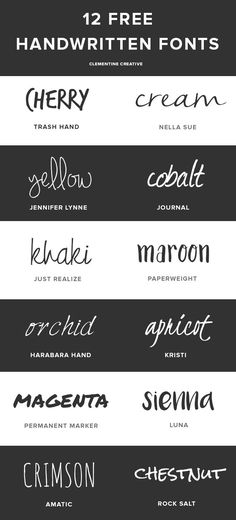 12 beautiful, handwritten fonts with the download links here