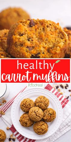 Healthy Carrot Muffins with applesauce, oatmeal or oat bran, whole wheat flour and honey. Your family will love them! Healthy Carrot Muffins, Fall Recipes, Snack Recipes, Oatmeal Muffins, Junk Food, Food Videos, Healthy Snacks, Carrots, Good Food