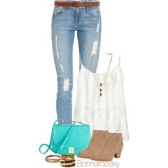 A fashion look from August 2014 featuring lace tank top, ripped jeans and mid-heel boots. Browse and shop related looks.