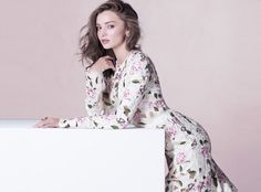 Miranda Kerr Is Pretty in Pink for Vogue Thailand , floral pink dress, feminine look