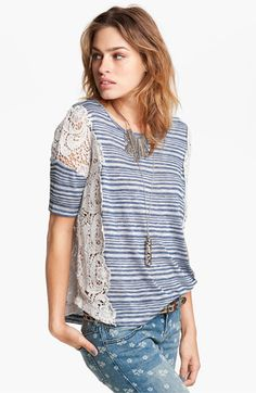 Free People Crochet Panel Stripe Tee available at #Nordstrom