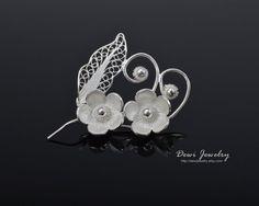 925 Sterling Silver Filigree Twin Flowers Brooch, Silver Brooch #fashion #jewelry
