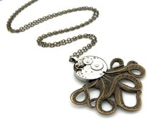 Steampunk Octopus Pendant Necklace  Clockwork by SteamSect on Etsy